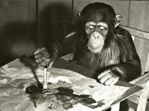 Kunst-Der-Schimpanse-Congo-beim-Malen-eines-Bildes-in-einer-Fernsehshow-in-den-1950er-Jahren